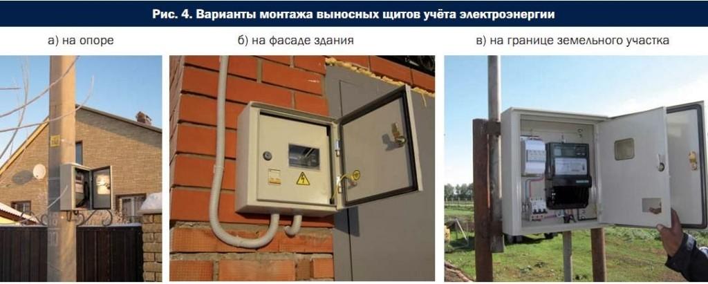 узел учета электроэнергии на фасаде